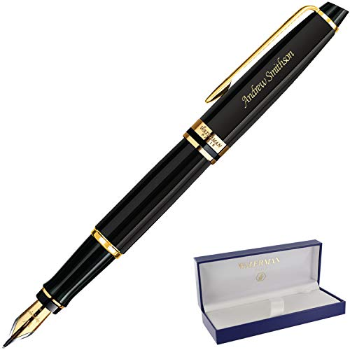 Dayspring Pens | Engraved/Personalized waterman Expert Fountain Pen Black with Gold Trim. Custom Engraved Fast!
