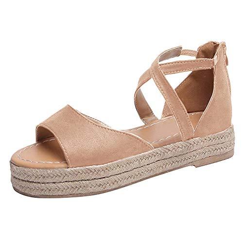 XMWEALTHY Women's Ankle Strap Espadrilles Platform Shoes Summer Casual Open Toe Strappy Sandals Shoes Khaki US 11.5