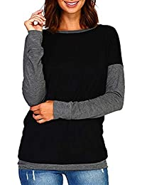 Color Block Long Sleeve Shirt for Women Casual Tunic Tops...