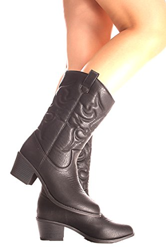 Lolli Couture Forever Link Wildleder Material Seitlicher Reißverschluss Schnalle Pelzbesatz Akzent Chunky High Heel Booties Schwarz Bdw14