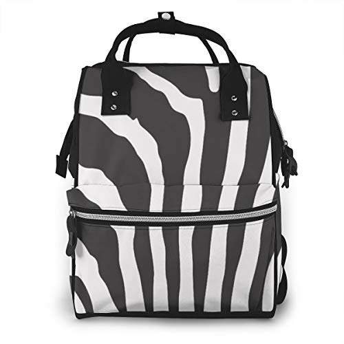 - FSXDOG-DB Black White Zebra Stripe Print Diaper Bag Backpack Multi-Function Waterproof Nappy Bags for Mom Dad Travel Large Capacity Baby Care Changing