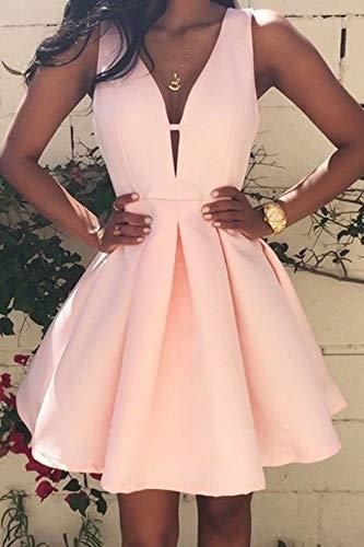 wangxiyan Short/Mini Bridesmaid Homecoming Evening Ball Gown Grad Cocktail Prom Dresses(Light Pink,M)