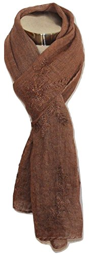 100% Pure Flax Linen, Kantha Hand Embroidered Gauze Scarf. (Cocoa). (Cocoa Cotton Border)