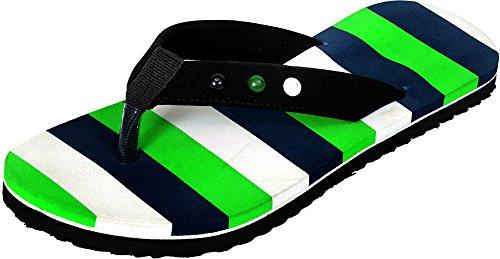 Mr.Polo Mens Flip Flops (401-green_8 Green 8 UK)