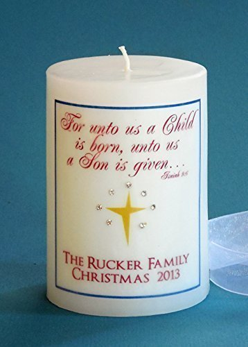 Personalized 3x4 Unto Us a Child is Born Christmas Candle