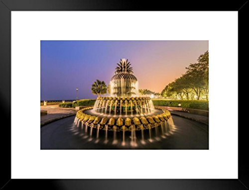 - Pineapple Fountain Waterfront Park Charleston Photo Art Print Matted Framed Wall Art 26x20 inch