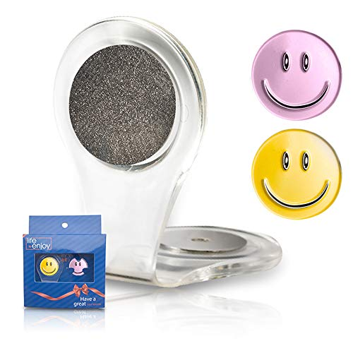Golf Ball Marker Clip - with 2 Smiley Ball Markers - Attach to Your Clothes, Bag or Pocket Edge - Strong, Easy to Use Magnetic Mechanism - Transparent to Match with Any Outfit - Great Gift!