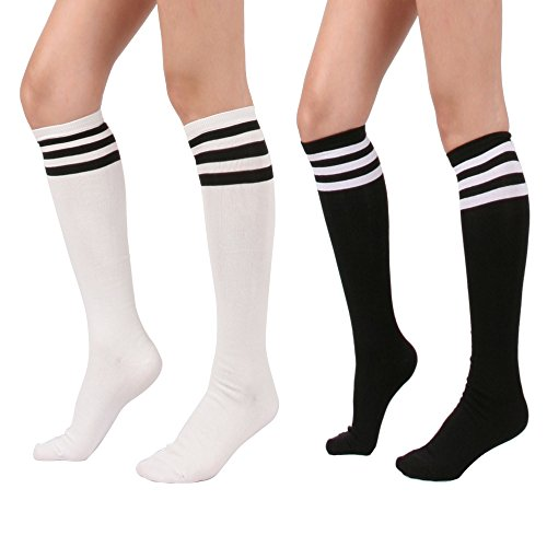 STYLEGAGA Women's Casual Knee High Socks (One Size : XS to M, Triple Stripe Asst-2P)