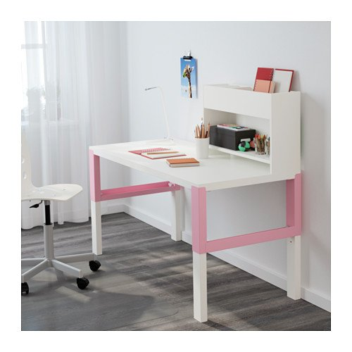 Ikea Desk with add-on unit, white, pink 18204.82629.2630