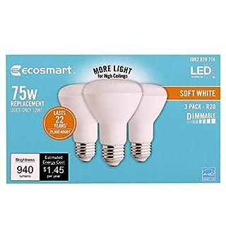 EcoSmart 75-Watt Equivalent R20 Dimmable LED Light Bulb Soft White (3-Pack)