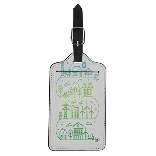 Pinbeam Luggage Tag Infographic in Linear City Alternative Energy Generators Suitcase Baggage Label