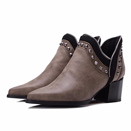 American and size shoes metal women's boots European bare and pointed boots short Big Yellow zippers xwXqCIdHq