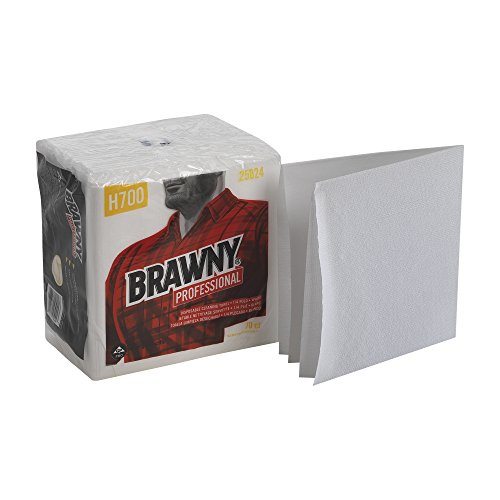 Georgia Pacific Professional 25024 Brawny Industrial Heavy Duty Qrtrfld Shop Towels, 13x13, White, 70 Per Pack (Case of 12 Packs)