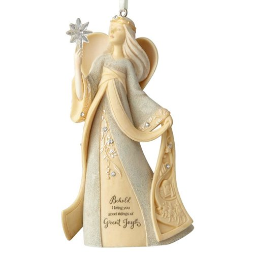 Enesco Foundations Christmas Nativity Angel with Star Stone Resin Hanging Ornament, Multicolor