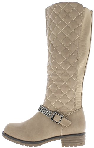 Donna Cm 5 Heel 3 Quilted Look Chaussmoi Boots Taupe Stem Elasticated q4wpwP5