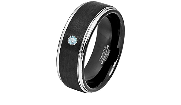 Ladies March Birthstone Ring 6mm Black Ion Plated Brushed Center Tungsten Carbide Ring TS1682 Aquamarine Solitaire Wedding Band