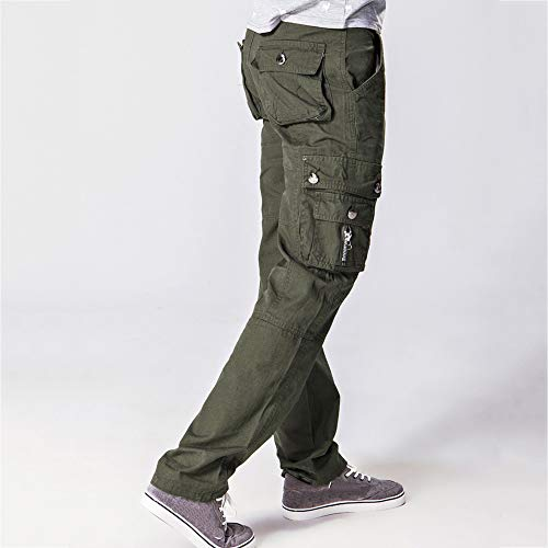 Elecenty Pantaloni Verde Uomo Cerniera Scuro Lavoro Da Multi tasca Casual A Vita Cargo 2eE9WDIHYb
