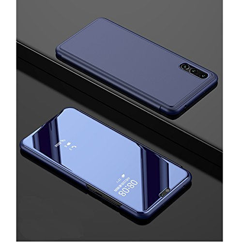 Leather Case with Stand for Huawei P Smart,Bookstyle Flip Case Cover for Huawei P Smart,Leecase Mirror Effect Clear Transparent View Gel for Huawei P Smart-Royal Blue by Leecase