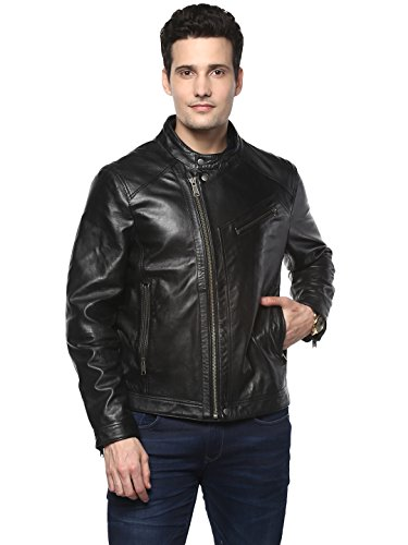 Mens Lamb Jacket (Theo&Ash Men's Black Genuine Leather Jacket (XX-Large, Black))