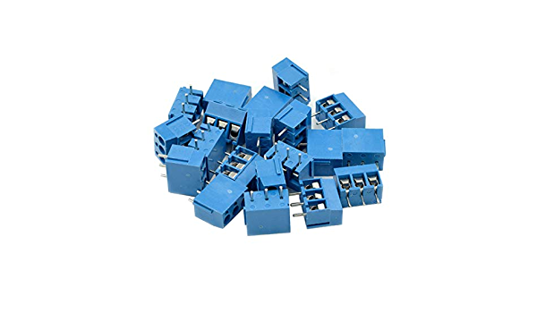 50 Pcs Hxchen 5mm Pitch 2 Pin KF300-2P Screw PCB Wire Terminal Block Connector Blue
