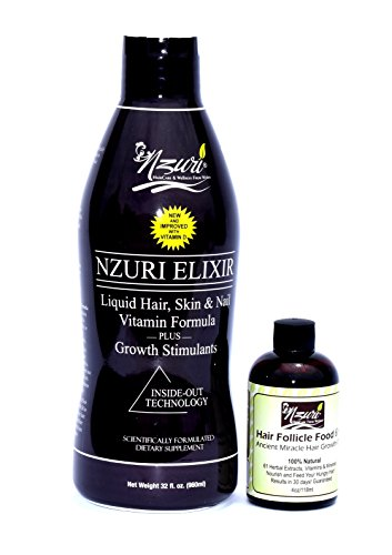 Nzuri Elixir Hair Skin and Nail with Vitamin D – 32 Oz Nzuri Hair Follicle Food 61- Ancient Miracle Hair Growth Oil 4oz Vitamins to Make Hair Grow Long Intense Grow Long Hair Supplements Combo pack