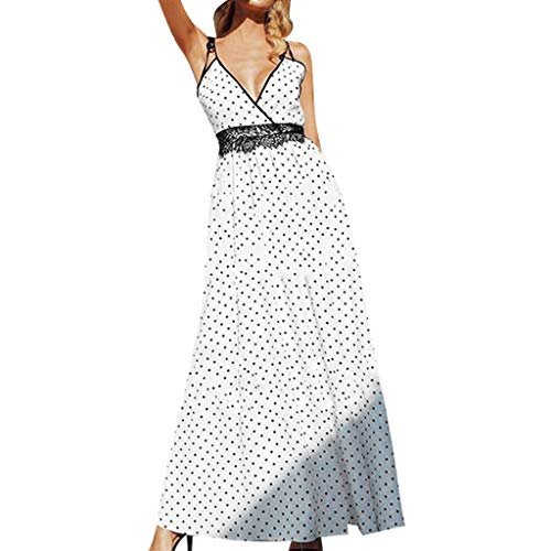 Sunhusing Women's Sexy Deep V-Neck Sling Wavy Polka Dot Print Lace Stitching High Waist Long Dress -