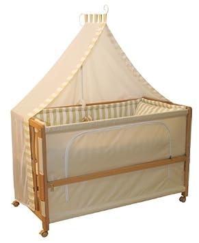Babybett 60x120 cm Gl/ücksengel blau Anstellbett zum Elternbett mit kompletter Ausstattung roba Beistellbett Roombed