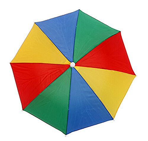 Portable Fishing Camping beach Umbrella Hat Multicolor Cap Sun Rain Umbrella