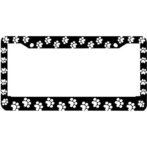 Dog Custom Print - AMZ Decorative Frames Black Paw Prints Critter Dog Cat Black License Plate Frame, Custom License Plate Frame, Car License Plate Cover for US Vehicles, 2 Holes and Screws License Tag Holder