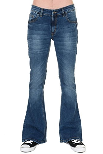 Run & Fly Mens 70s Retro Distress Vintage Stretch Denim Bell Bottom Flares