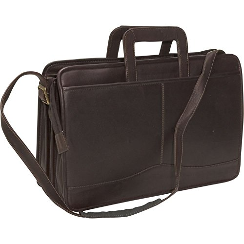 (David King Leather Triple Gusset Drop Handle Briefcase in Cafe )