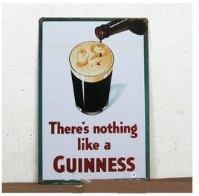 Guinness Sign - There is nothing like a GUINNESS Metal Tin Sign, Vintage Style Wall Ornament Coffee & Bar Decor,Size 8