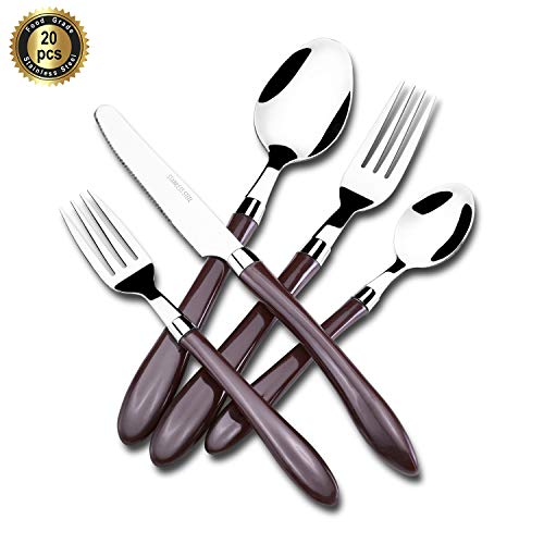 Hoften 20 Piece Silverware Set, Brown Handle Stainless Steel Flatware Set Include Fork Spoon Knife Utensils for Daily Use and Party, Cutlery Set Service for 4, Safe in Dishwasher(HF013-BR)
