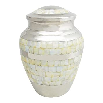 Perfect Memorials Extra Large Brass Nickel Mother of Pearl Cremation Urn
