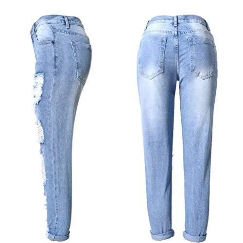 Con Casuales De Battercake Pantalones Estiramiento Libre Mujeres Bolsillos Delanteros Mezclilla Volantes Las Aire Botones Alta Hellblau Cintura Al HI8qwxqB