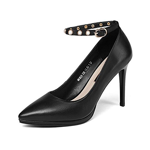 EU39 Peu en Black Bouton Stilettos Couleur Cuir Boucle Femmes Profonde Pointu Bouche Taille Black Chaussures Un UK6 CJC RnWZfq