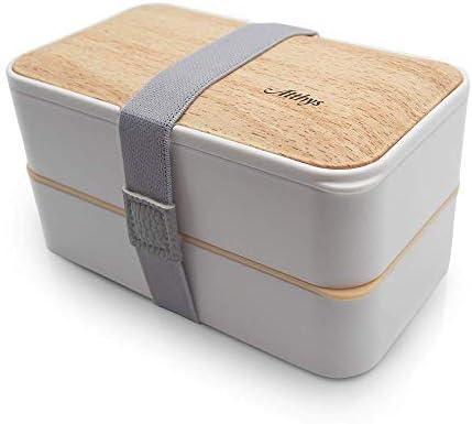 Bento Box Fiambrera /· Tupper Bambu Hermetico y con Dise/ño Mundo de 700 ml /· Eco Lunch Box /· Porta Alimentos estilo Japon/és /· Este Tupper Hermetico incluye Tenedor Cuchara y Cuchillo
