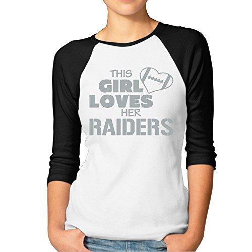 (ElishaJ Women's This Girl Loves Oakland Football Casual 3/4 Raglan Sleeves Baseball Tshirt - Black XL)