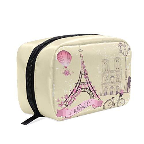 Hot Air Balloons Bicycle Makeup Bag Cosmetic Bag Toiletry Travel Bag Case for Women, Romantic Paris Eiffel Tower Portable Pen Pencil Organizer Storage Pouch Bags Box (Eiffel Tower Paris And)