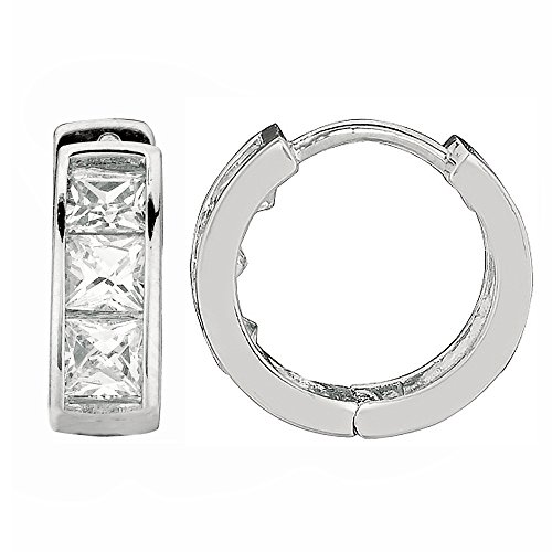 Ritastephens 14K Gold Mini Cubic Zirconia Princess-cut Huggie Small Hoop Earrings 3x9mm