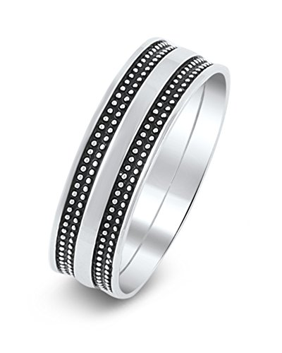 Sterling Silver Beads on Black Stripes Ring (8)