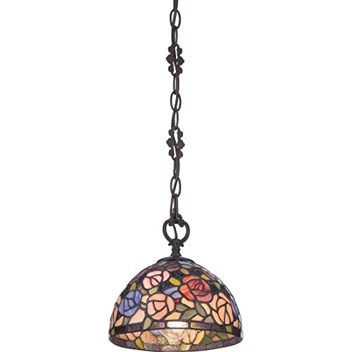 Quoizel Stained Glass Pendant - Quoizel TFRA1508IB Rosa Mini Pendant