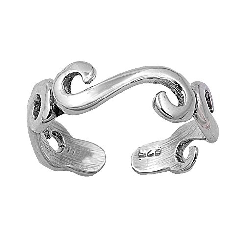 Sterling Silver Swirl Toe Ring (Swirl Silver Toe Ring Sterling)