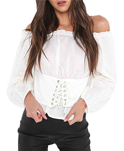Bandage Col Couleur Volant Unie Shirts Blanc Chemisiers t Tunique Longues Blouses T Fashion Bateau Manches Haut Femmes Tops 8CwPqU