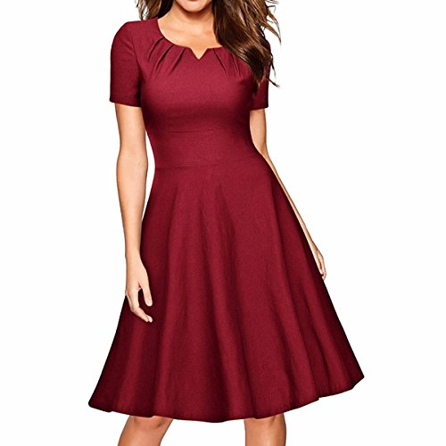 Samtree Vintage Dresses For Women,Short Sleeve A-Line Cocktail Party Swing Dress(Asia S,Wine Red)