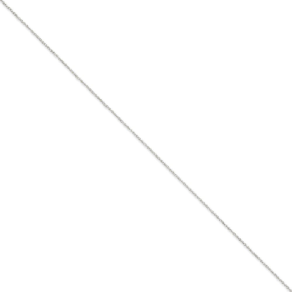 14K White Gold Unisex Kids 1.10MM Ropa Link Chain Necklace