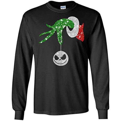 Grinch Hand Holding Ornament Jack Skellington Shirt_Black_S