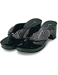 Japanese Geta Style Black & Shiny Sandals with Black and White Wave Pattern