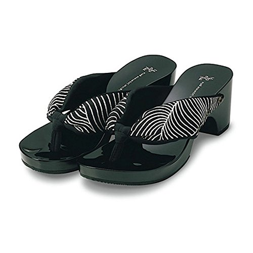 with Black Shiny Geta MIZUTORI amp; Sandals Wave Japanese Black Pattern Style White and tXx40q