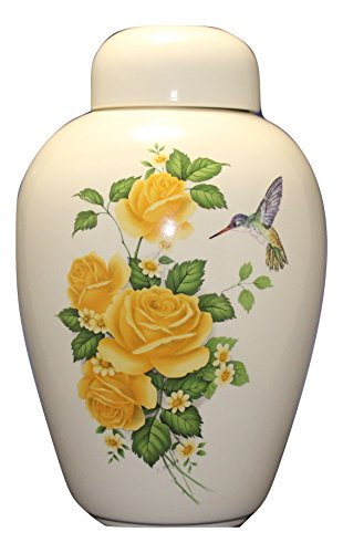 Hummingbird with Yellow Roses - Floral Funeral Urn - Cremation Urn for Human Ashes - Hand Made - Hummingbird Rose
